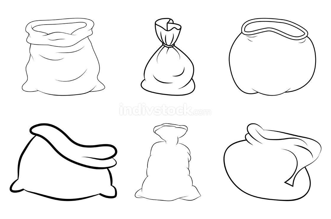 Santa sack outline set. Contour shape of santa claus bag. Vector