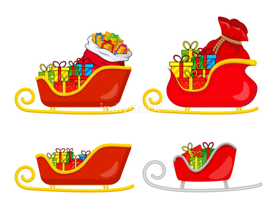 Santa sledge full of gifts set. Sleigh with presents of santa cl