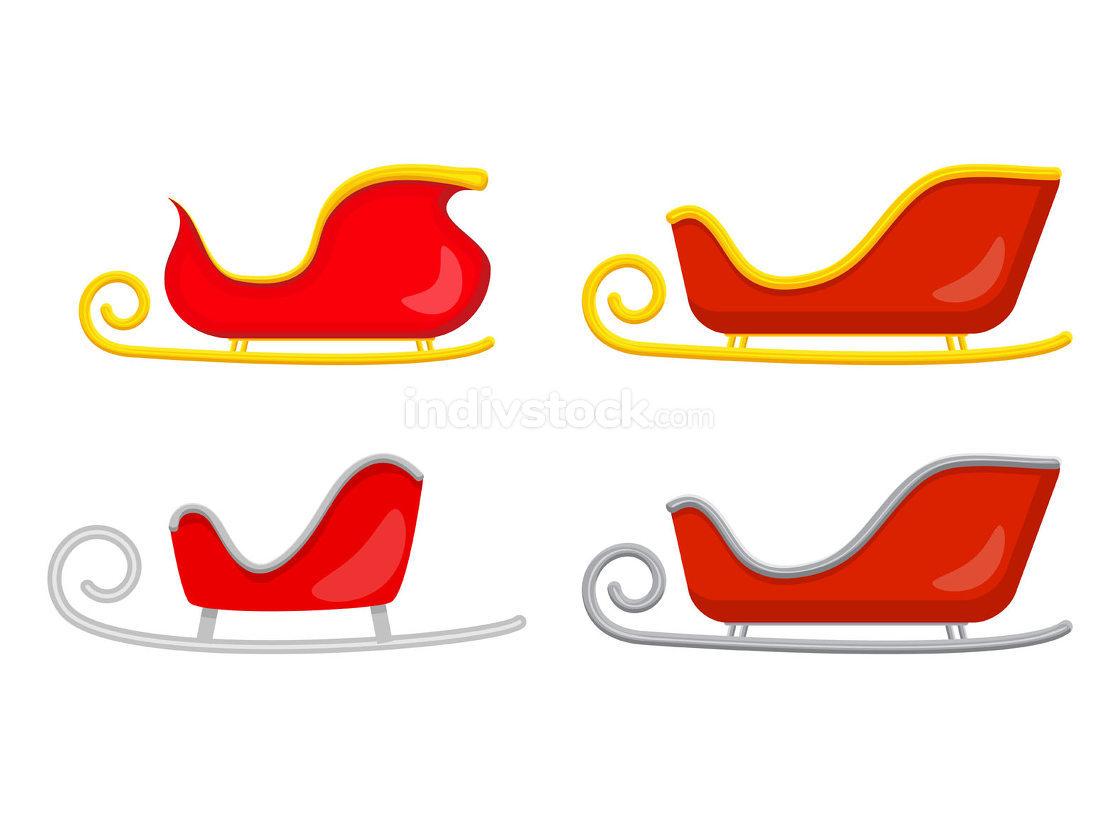 Santa sledge set. Sleigh of santa claus. Christmas slide illustr