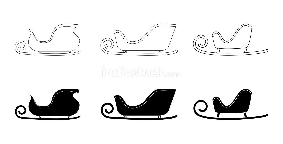 Santa sleigh silhouette and outline set. Sledge of santa claus s