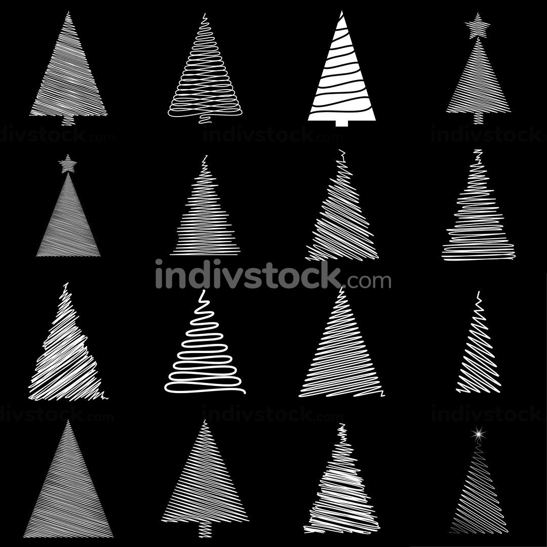 Scribble christmas tree set. Doodle fir tree collection. Hand-drawn festive vector illustration isolated on black background. White childlike drawing