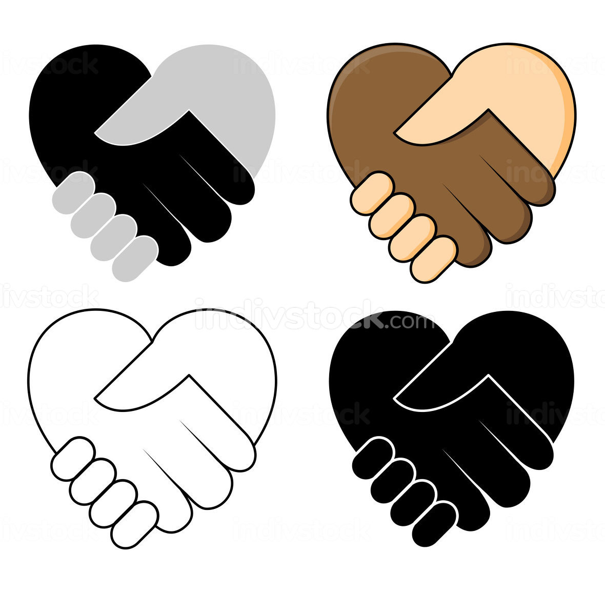 Shake hand in heart shape-No racism concept icon set. Two hand