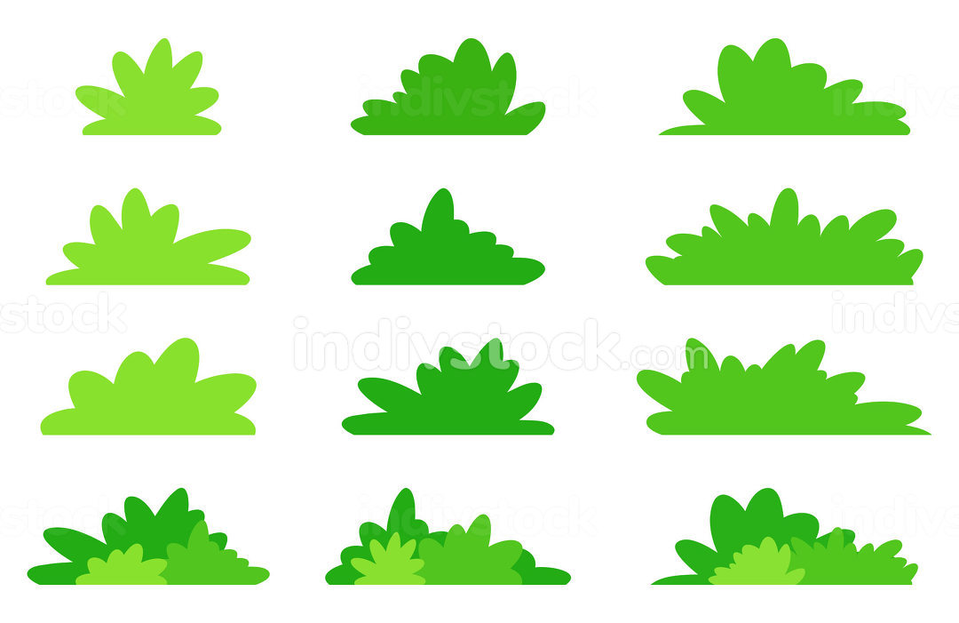 Simple bush set in green color. Flat vector design in minimalist