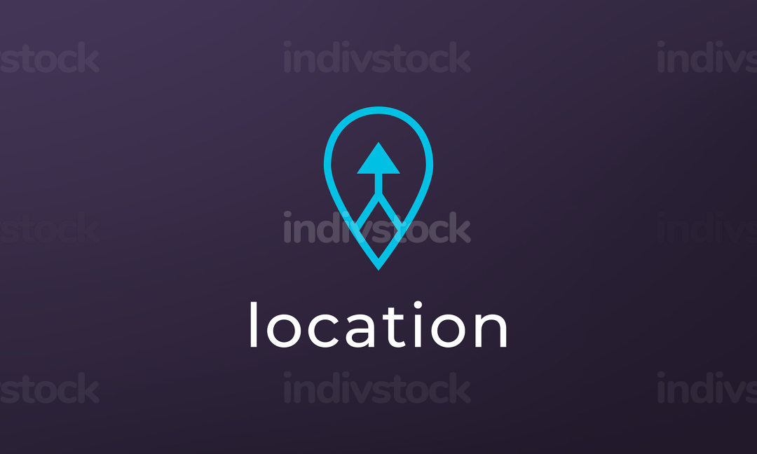 Simple pin position logo. abstract destination location icon ro