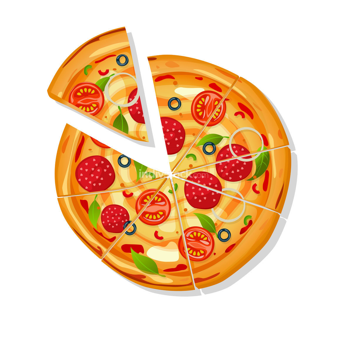 Sliced pizza vector cartoon over white background
