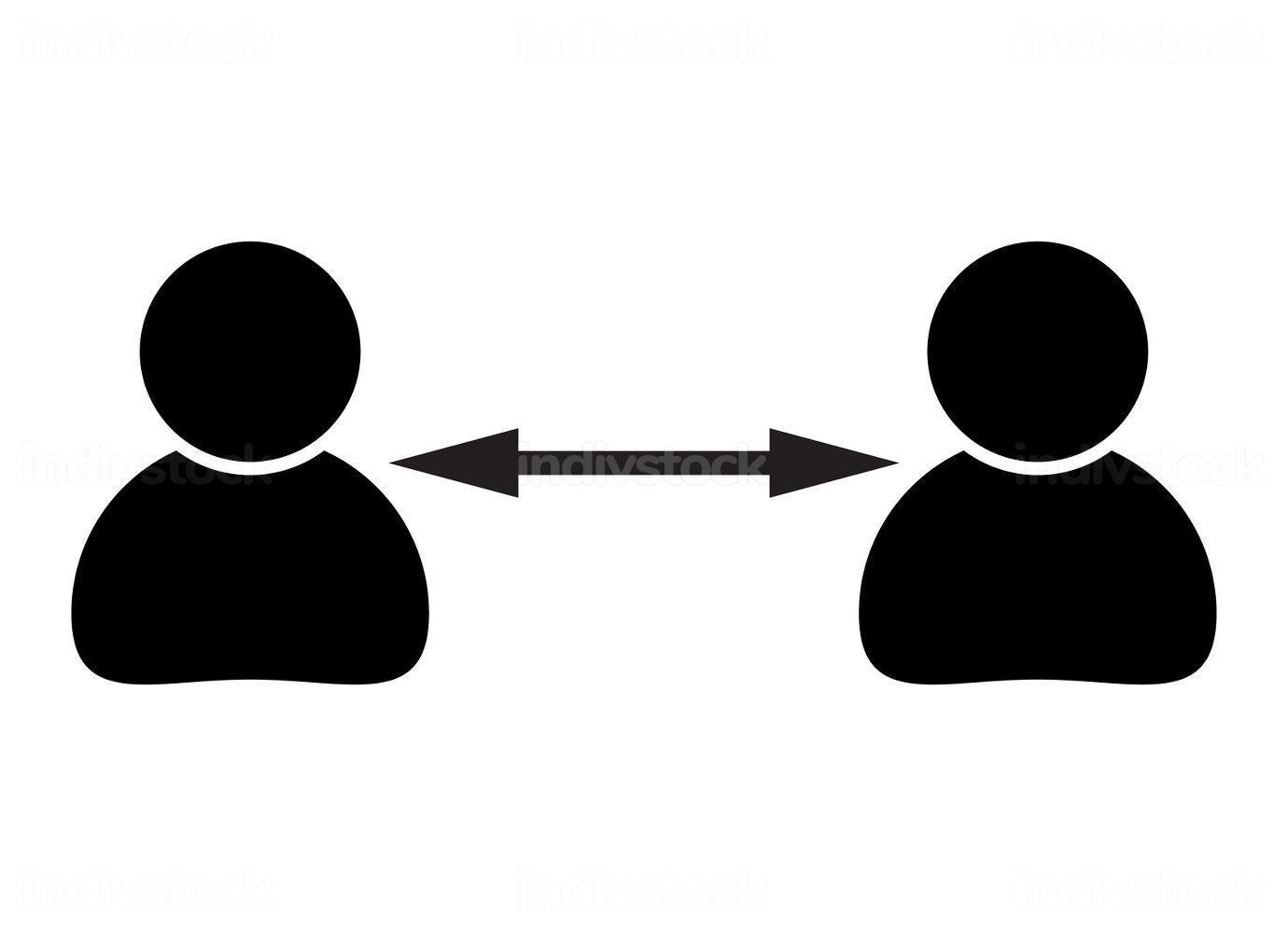 Social distance symbol. Black icon of coronavirus prevention. K