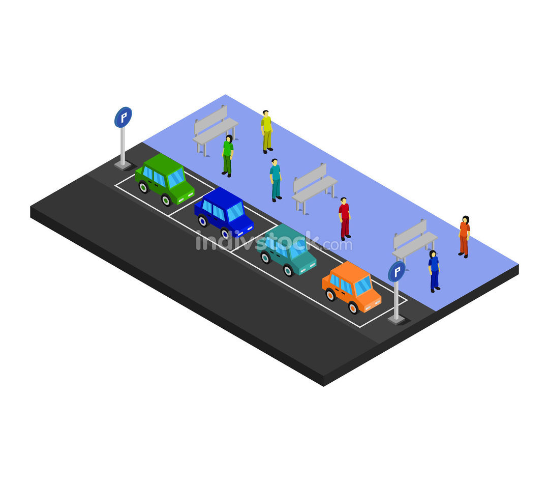 sometric parking in vector on white background