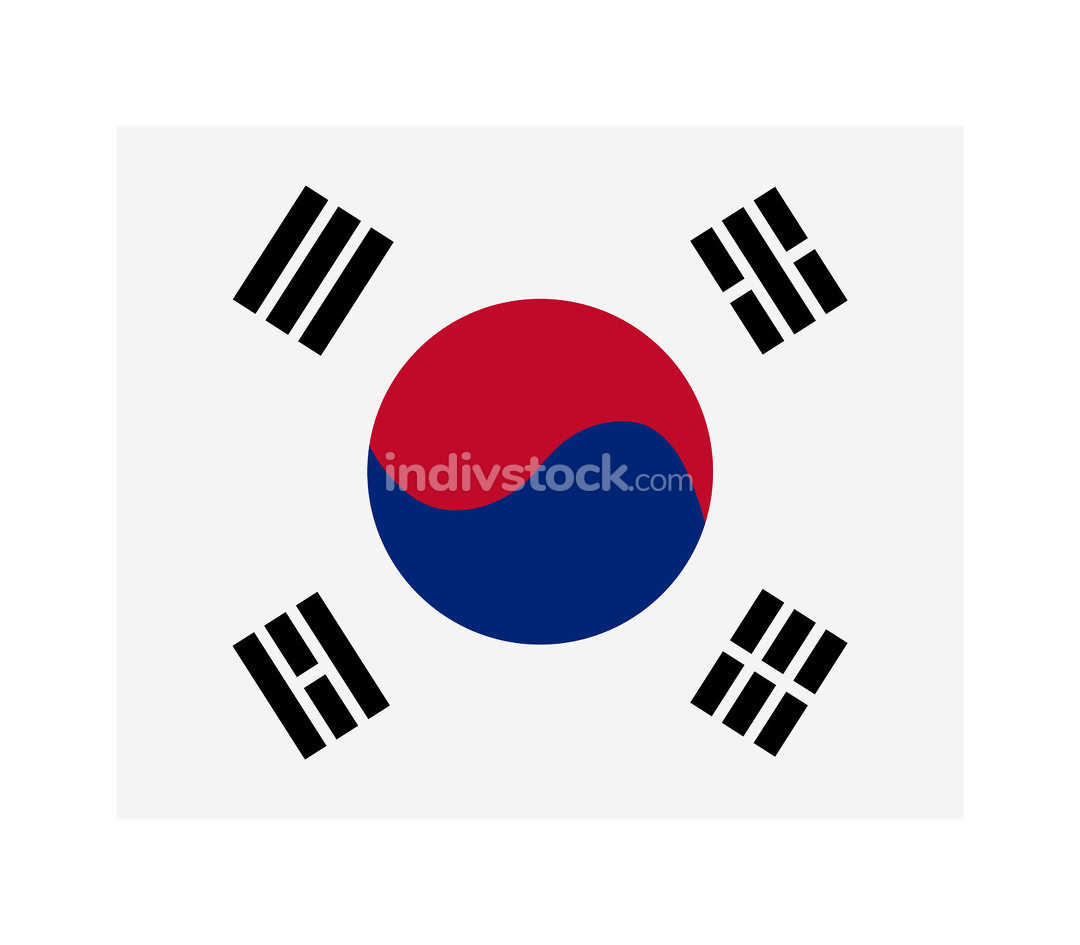 south korea flag illustrated in vector on white background