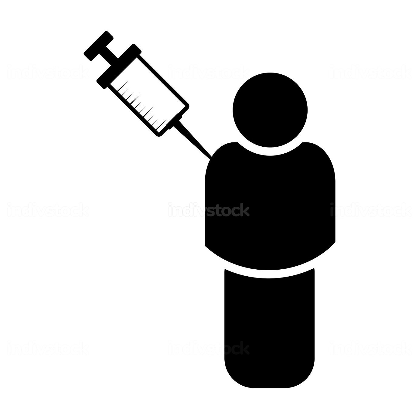 Vaccination symbol. Human body icon with syringe contains vaccin