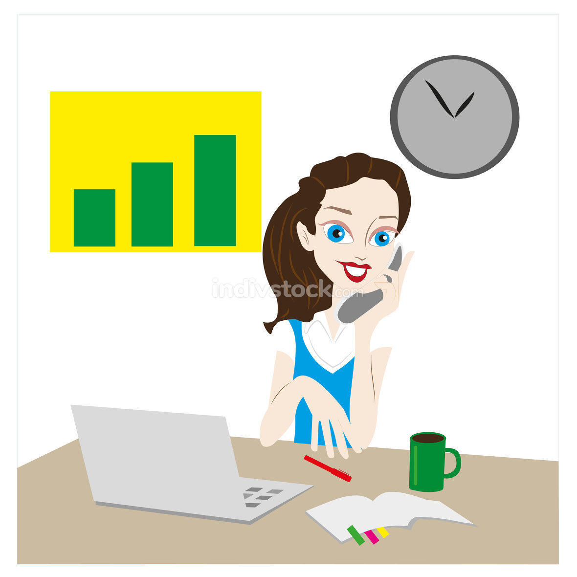 Vector. A woman at the computer, working from home, freelance