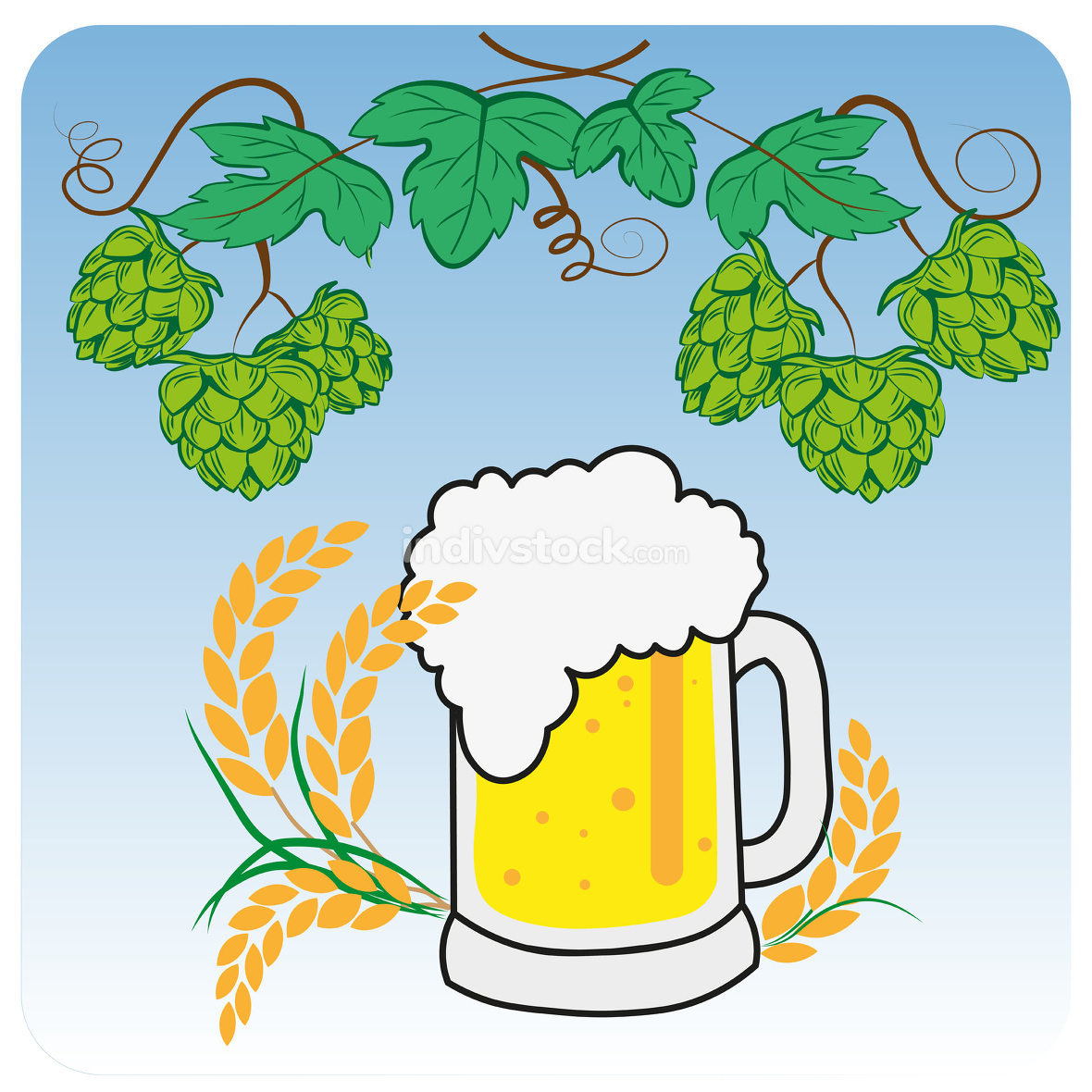 Vector, Hops, malt, beer glass and beer mug. Hand drawn vector i