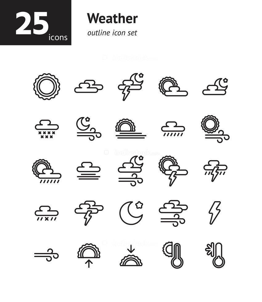Weather outline icon set. Vector and Illustration.
