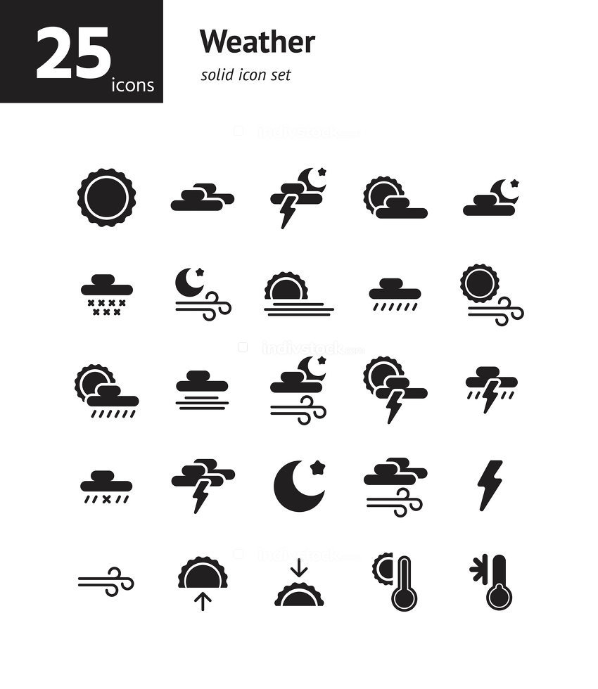 Weather solid icon set. Vector and Illustration.