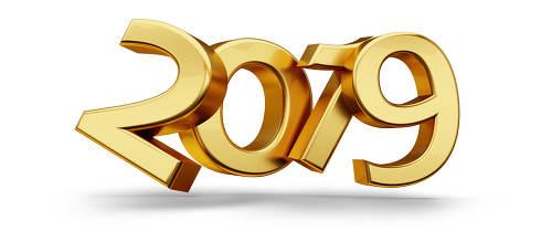 2019 golden symbol metallic 3d-illustration