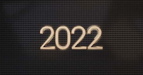 2022 golden glossy symbolic on modern hexagonal background design 3d-illustration