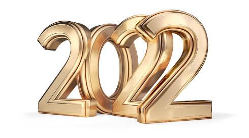 2022 golden symbol 3d-illustration
