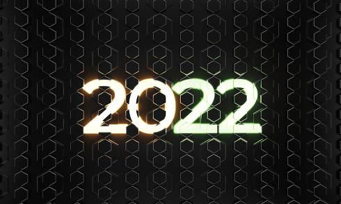 2022 hexagonal background neon lights background 3d-illustration