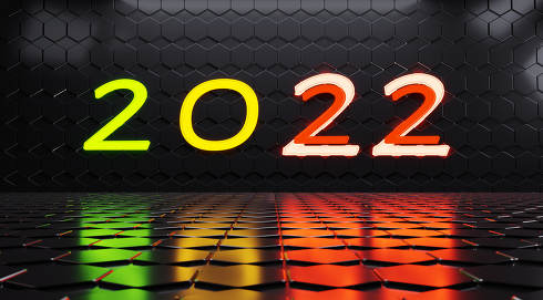 2022 neon lights symbol 3d-illustration hexagonal background