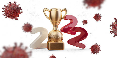 2022 soccer trophy Qatar color design and virus cells 3d-illustration