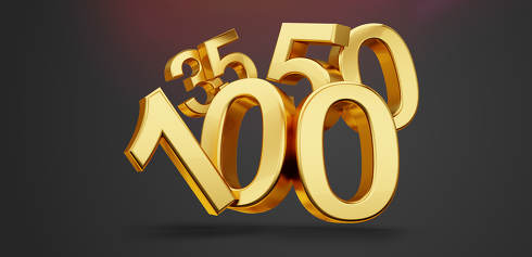 35 50 an 100 symbol as incidence 3d-illustration