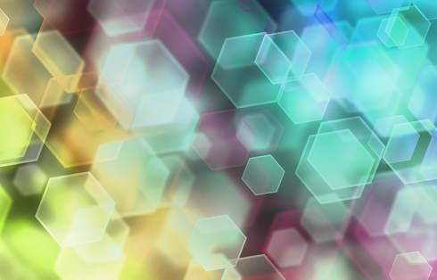 Abstract romantic colorful bokeh hexagons for background