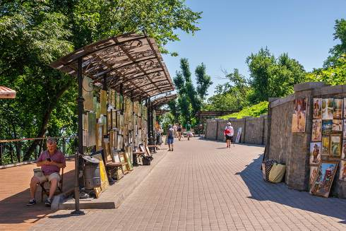Alley of artists in Kyiv, Ukraine