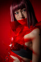 Anime, Oriental girl with red plastic costume, futuristic cospla