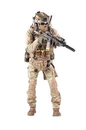 Army infantryman in camouflage uniform, battle helmet, tactical radio headset, extra ammo on load carrier, sneaking, aiming with laser sight on assault rifle studio shoot isolated on white background