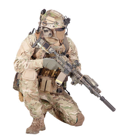 Army special forces infantry in battle uniform, radio headset on helmet, armed service rifle, standing on knee, waiting in ambush, patrolling area, observing territory studio shoot isolated on white