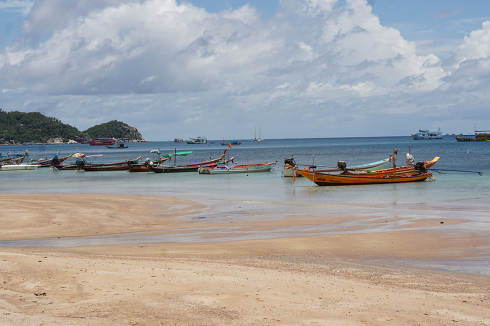 at the north of the empty beach, named Sairee beach at Koh Tao, with only a few people while Thailands lockdown in Koh Tao, May 8, 2021