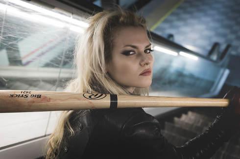 Bad, Beautiful and sexy blonde with a baseball bat