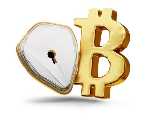 Bitcoin and keyhole as lock symbol golden metallic 3d-illustration