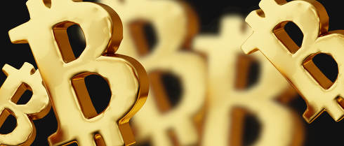 Bitcoin golden metallic bold letters 3d-illustration