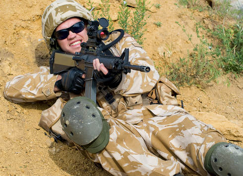 British soldier in desert uniform in action