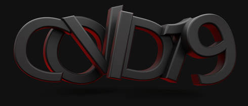 covid-19 dark and red symbol bold letters 3d-illustration