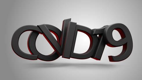 covid19 symbolic dark bold letters 3d-illustration