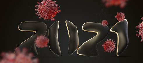 creative symbol of 2021 and red virus cells 3d-illustration background