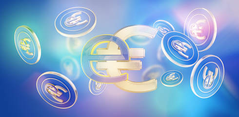 digital currency e-euro abstract creative symbolic background 3d-illustration