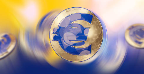 digital currency e-euro coin 3d-illustration background