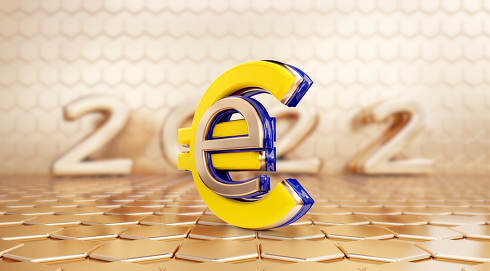 digital currency symbolic E-Euro and blurred year 2022 design 3d-illustration