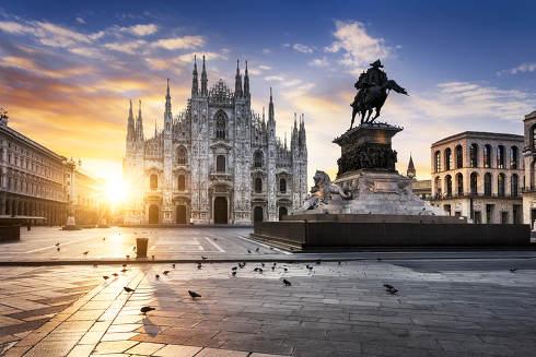 Duomo at sunrise, Milan, Europe.