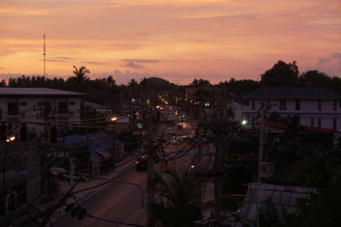 Early evening in Thailand on the island Koh Samui, Samui Town Center Bo Put, Surat Thani, Thailand, April 25, 2021