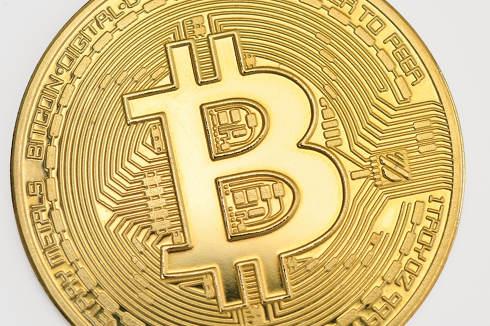Galati Romania-April 12 2021 Studio shot of Bitcoin currency