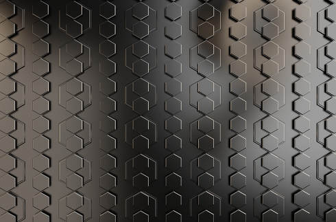 hexagonal grid wall metallic dark modern background 3d-illustration