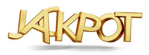 jackpot golden metallic bold letters 3d-illustration