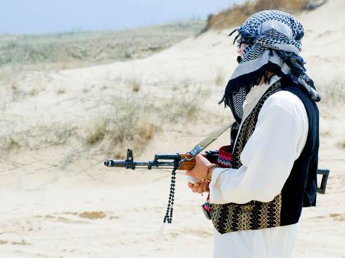 Muslim rebel with rifle