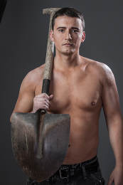 Occupation, Male worker holding a shovel, sexy builder