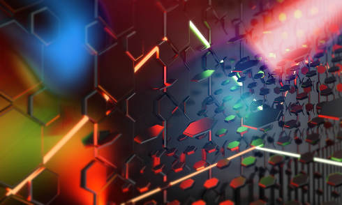 red green neon lights abstract creative hexagonal background 3d-illustration