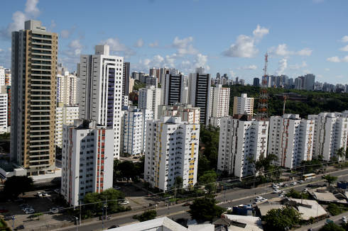 salvador, bahia Brazil, april 18, 2017, Aerial view of buildings and residences in the neighborhood of Imbui in the city of Salvador.