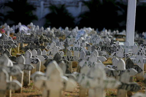 salvador, bahia, Brazil, march 1, 2018, graves are seen in the municipal cemetery of the Brotas neighborhood in Salvador
